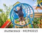 happy little boy on the... | Shutterstock . vector #441943315