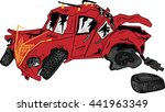 Broken Red Car. Vector Image.