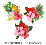 a set of bouquets of tropical... | Shutterstock . vector #441964399