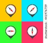color compasses flat icons set. ...