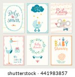 set of 6 baby shower cards with ... | Shutterstock .eps vector #441983857