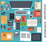 office desk stationery flat... | Shutterstock .eps vector #441991414