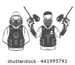 set of paintball print and... | Shutterstock .eps vector #441995791
