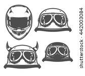 set of motorcycle helmet... | Shutterstock .eps vector #442003084