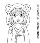amazing anime girl. manga style ... | Shutterstock .eps vector #442026619