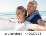 happy senior couple standing on ... | Shutterstock . vector #442027135