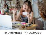 beautiful freelancer female... | Shutterstock . vector #442029319