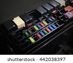 focus of car fuse box in low... | Shutterstock . vector #442038397