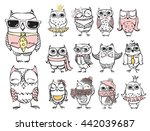 Stock vector cute hipster owls 442039687