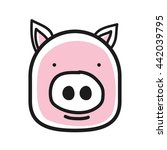 cartoon animal head icon. pig...