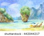 landscape with rocks  the sea... | Shutterstock . vector #442044217