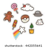 Set Of Cute Patch Isolated On...