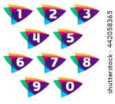 Numbers Set Logo In Triangle...