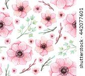 watercolor light pink flowers... | Shutterstock . vector #442077601