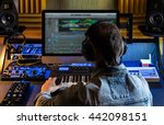man produce electronic music in ... | Shutterstock . vector #442098151