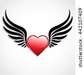 3d Glossy Heart With Wings  ...