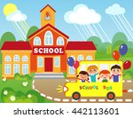 illustration of cartoon school... | Shutterstock . vector #442113601