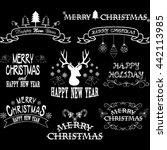 chalkboard merry christmas... | Shutterstock .eps vector #442113985