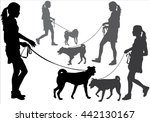 Stock vector girl walking with a dog on a leash silhouette on a white background 442130167