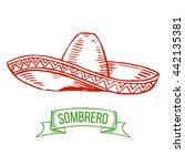 hand drawing sombrero isolated... | Shutterstock .eps vector #442135381