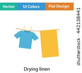 drying linen icon. flat color...