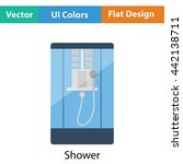 shower icon. flat color design. ...