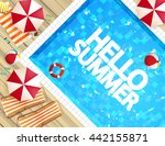 top view of swimming pool with... | Shutterstock .eps vector #442155871