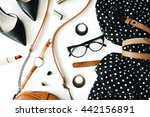 flat lay feminine clothes and... | Shutterstock . vector #442156891