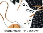 flat lay feminine clothes and... | Shutterstock . vector #442156999