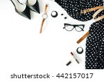 flat lay feminine clothes and... | Shutterstock . vector #442157017