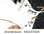 flat lay feminine clothes and... | Shutterstock . vector #442157035