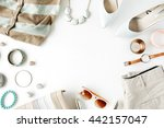 flat lay feminine clothes and... | Shutterstock . vector #442157047