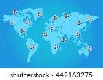 football soccer on world map... | Shutterstock .eps vector #442163275