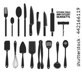 set of silhouettes cutlery.... | Shutterstock .eps vector #442166119