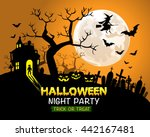 halloween night party orange... | Shutterstock .eps vector #442167481