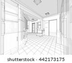 house building sketch  3d... | Shutterstock . vector #442173175