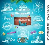 vector summer typography... | Shutterstock .eps vector #442173709