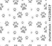 gray dog footstep seamless... | Shutterstock .eps vector #442186819