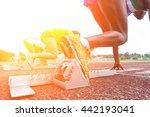 runners feet on starting blocks ... | Shutterstock . vector #442193041