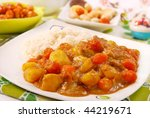 japanese curry rice with meat,carrot and potato - stock photo