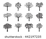 collection of black trees.... | Shutterstock .eps vector #442197235