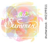 hello summer lettering. vector... | Shutterstock .eps vector #442199311