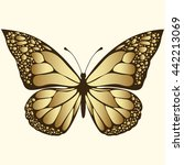 golden butterfly. luxury design ... | Shutterstock .eps vector #442213069