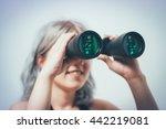portrait of young girl looking... | Shutterstock . vector #442219081
