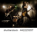 rock band performs on stage.... | Shutterstock . vector #442225357
