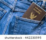 thailand passport in blue jeans ... | Shutterstock . vector #442230595