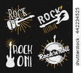 set of rock themed logos  icons ... | Shutterstock .eps vector #442234525