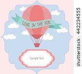 hot air balloon invitation card.... | Shutterstock .eps vector #442234555