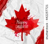holiday poster with red canada... | Shutterstock .eps vector #442257721