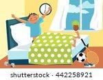 cartoon man waking up in his... | Shutterstock .eps vector #442258921